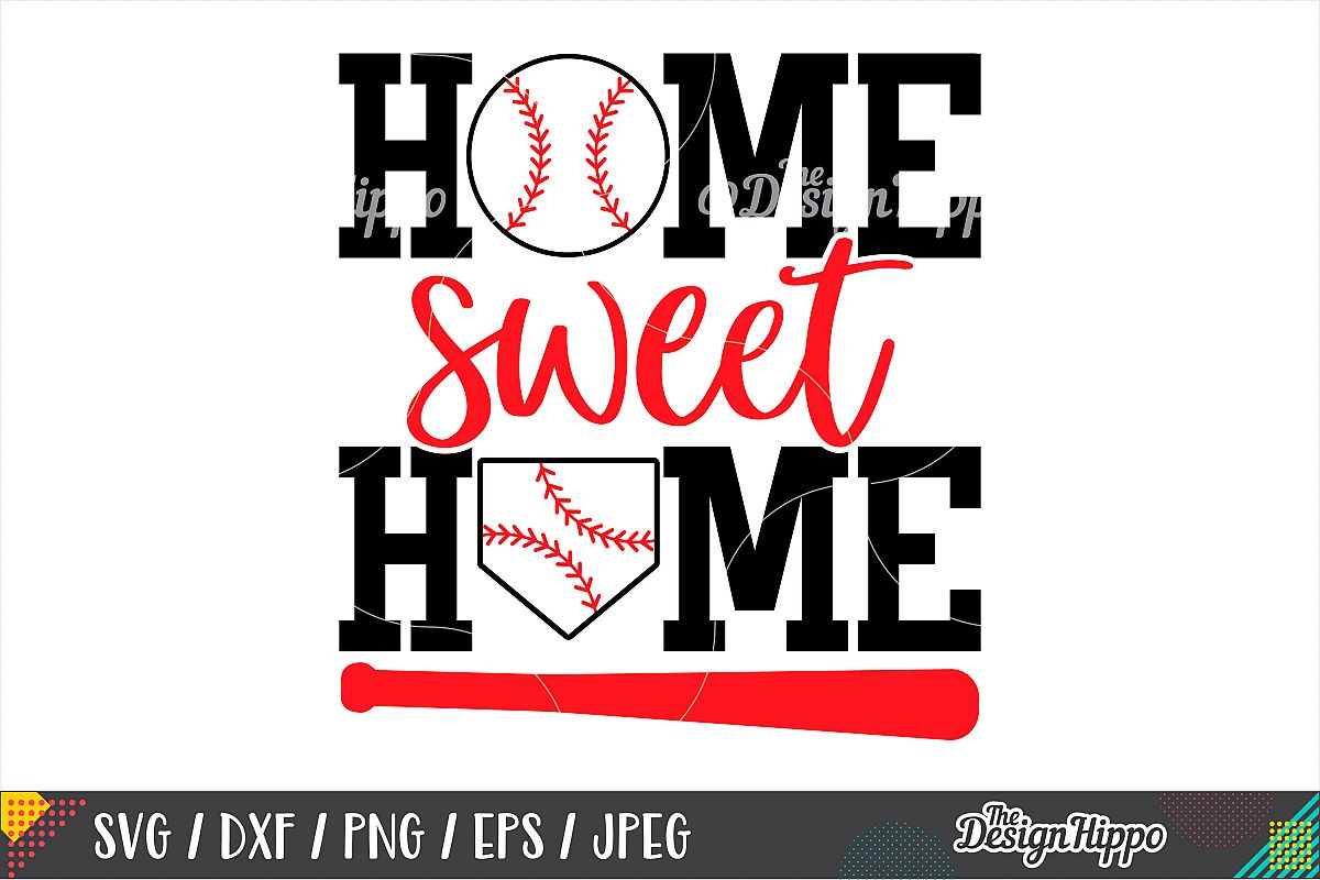 Home Sweet Home SVG, Baseball SVG, DXF PNG Cricut Cut Files example image 1