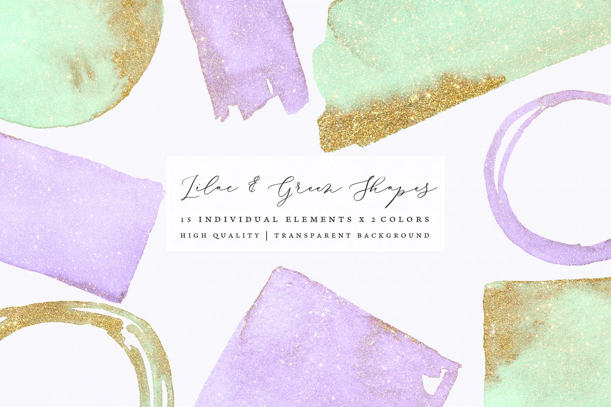 Gold glitter watercolor shapes, glitter lilac, green clipart example image 1