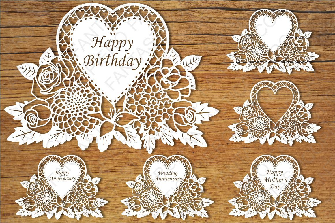 floral happy birthday wedding anniversary happy mother day svg files for silhouette cameo and