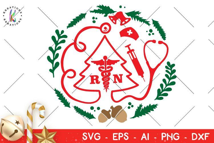 Nurse Christmas Svg.Christmas Svg Nurse Wreath Svg Nurse Christmas Rn