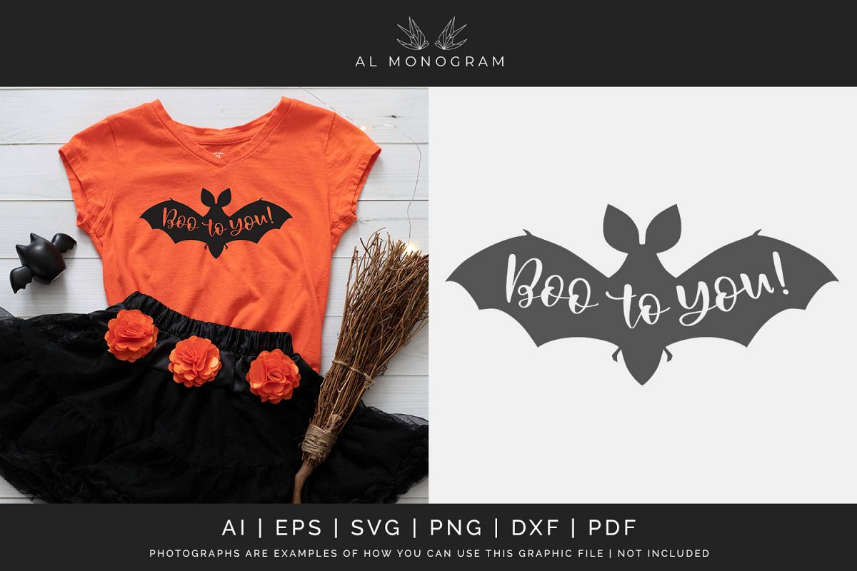 Boo to You Bat Halloween SVG Digital Laser Cut File example image 1