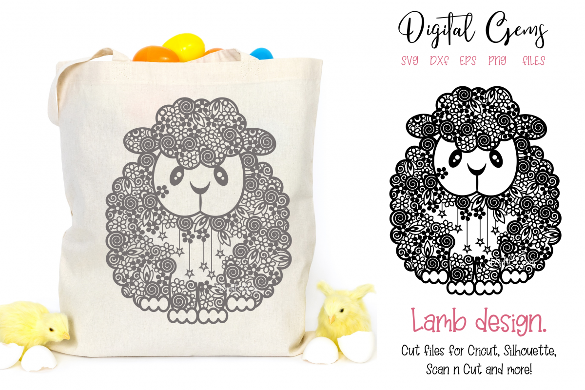 Lamb, Sheep paper cut design SVG / DXF / EPS / PNG files example image 1
