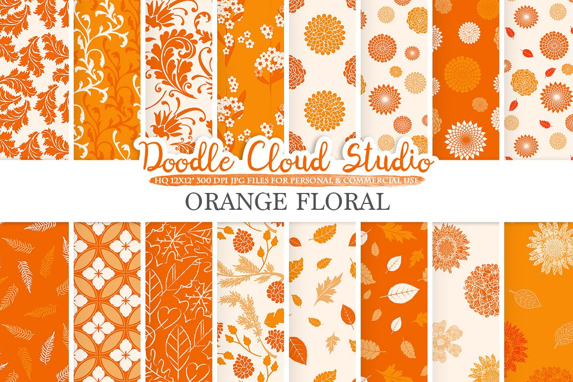 Orange Floral digital paper, Floral pattern Flowers Dhalia Leaves Damask Calico background, Instant Download, Personal & Commercial Use example image 1