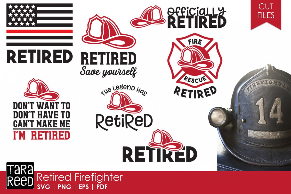 Retired Firefighter SVG and Cut Files for Crafters example image 1