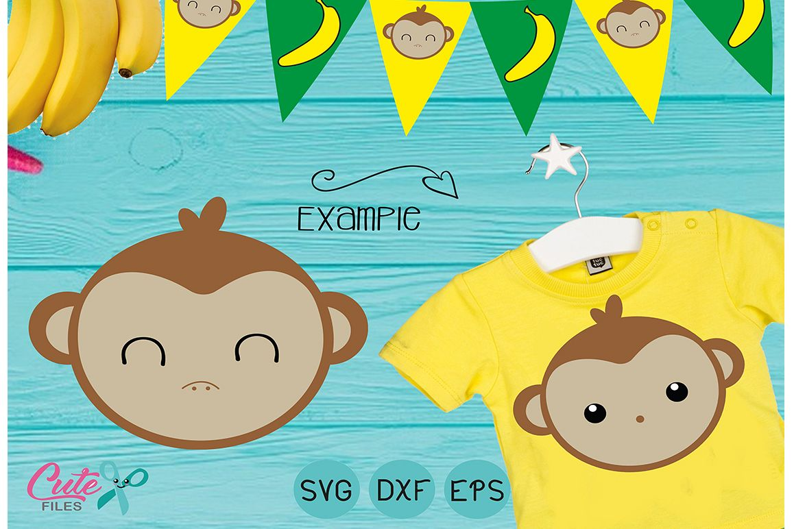 Monkey face SVG cut file for crafter example image 1