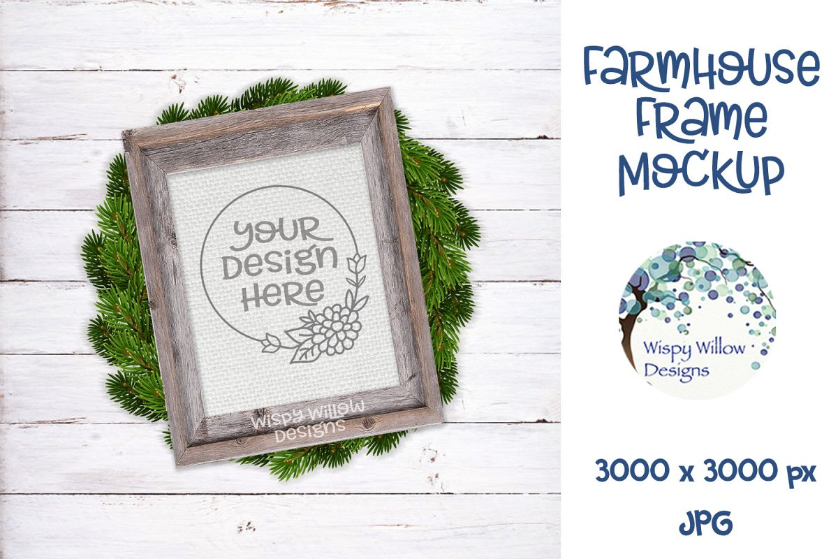 8x10 Vertical Farmhouse Frame and Wreath Mockup example image 1