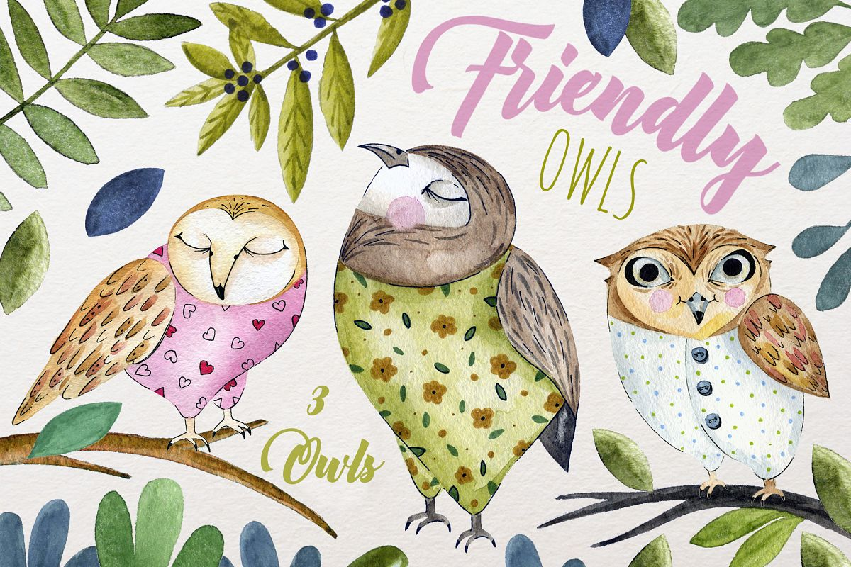 3 Cute owls example image 1