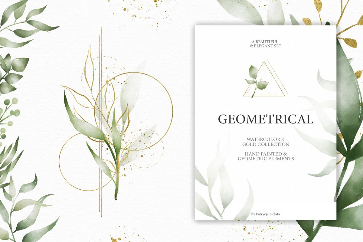 Geometrical. Gold & Watercolor Kit example image 1