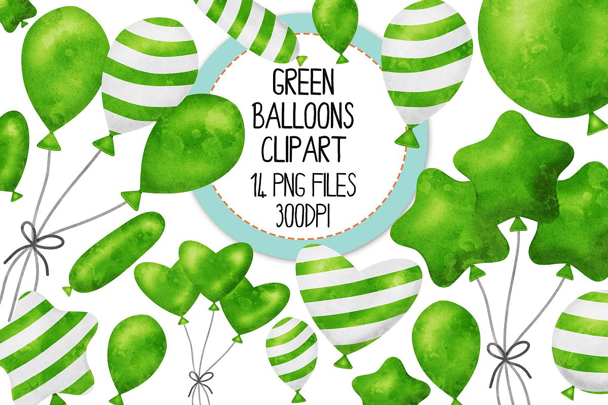 Green Watercolor Balloon Clipart Set example image 1
