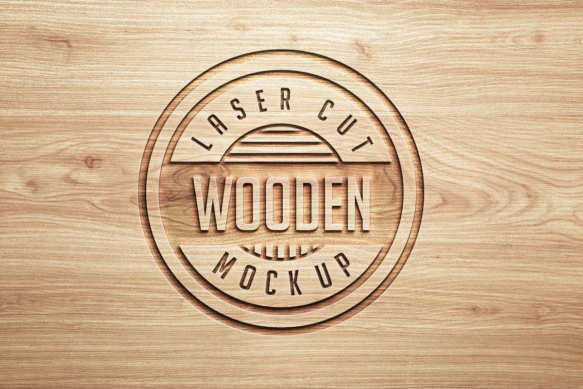 Logo Mock Ups  Wood Set example image 1