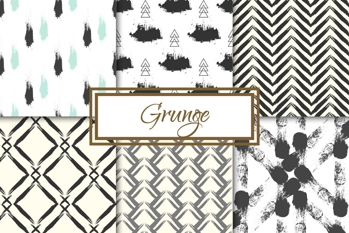 Grunge 6 seamless patterns example image 1