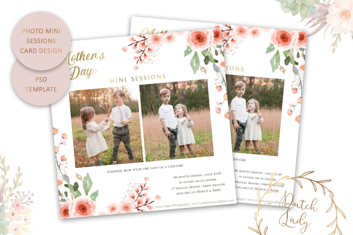 PSD Mother's Day Photo Session Card Template - Design #37 example image 1