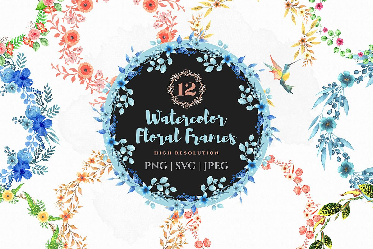 Watercolor floral bouquet wreath example image 1