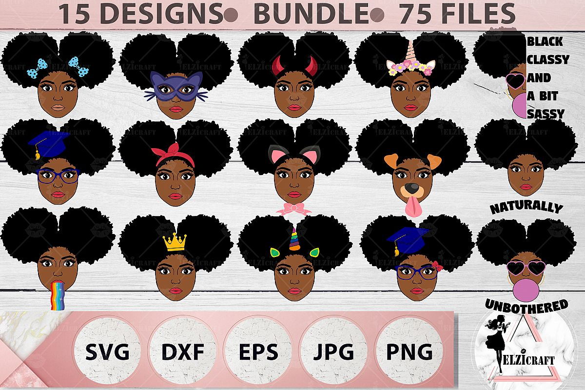 BUNDLE Afro Girl, Afro Girl Face, BAE, BHM SVG Cut File example image 1