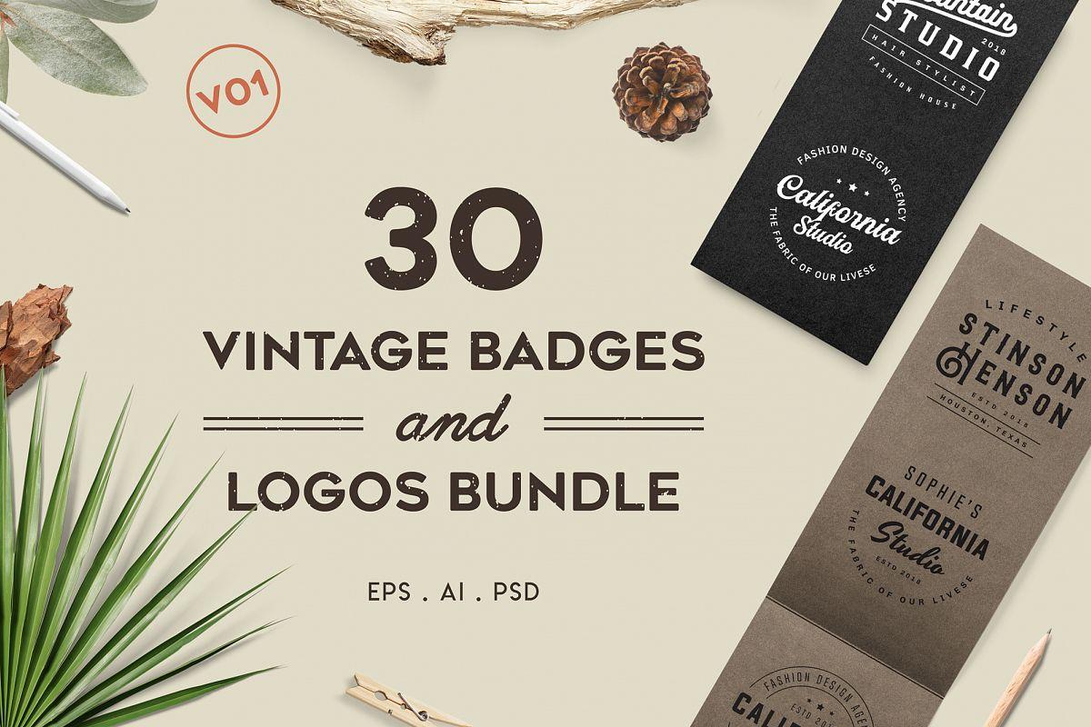 Vintage Badges and Logos Bundle V01 example image 1