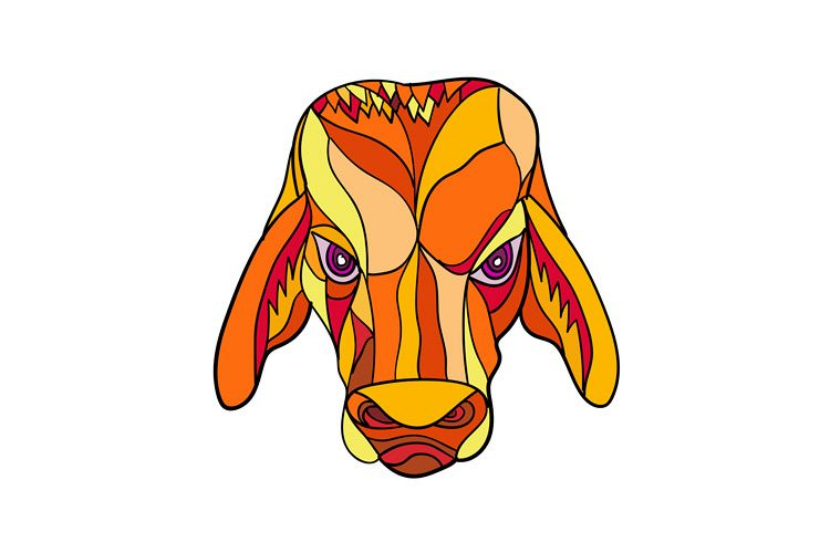 Brahma Bull Head Mosaic Color example image 1
