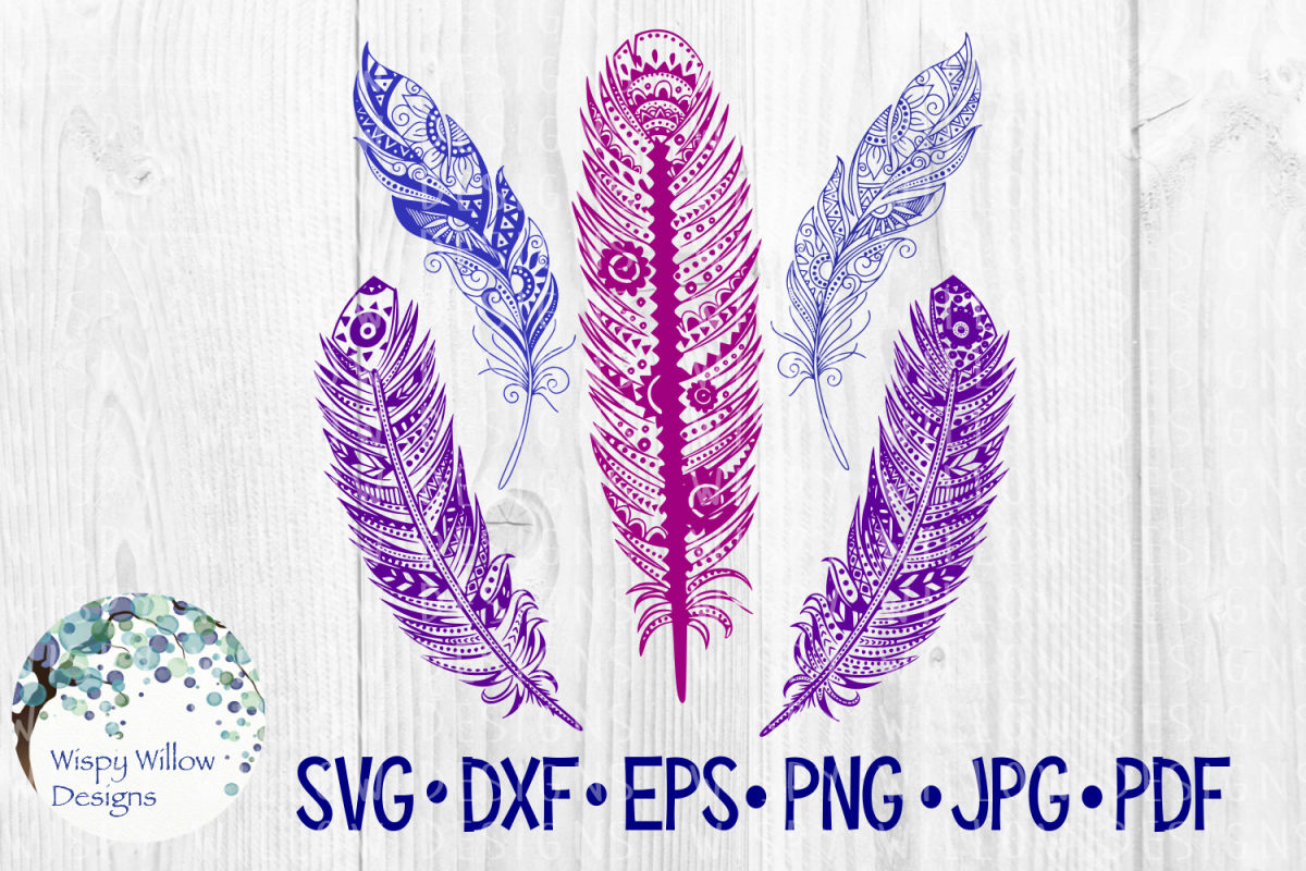 Intricate Feather Bundle, Boho SVG Cut File example image 1