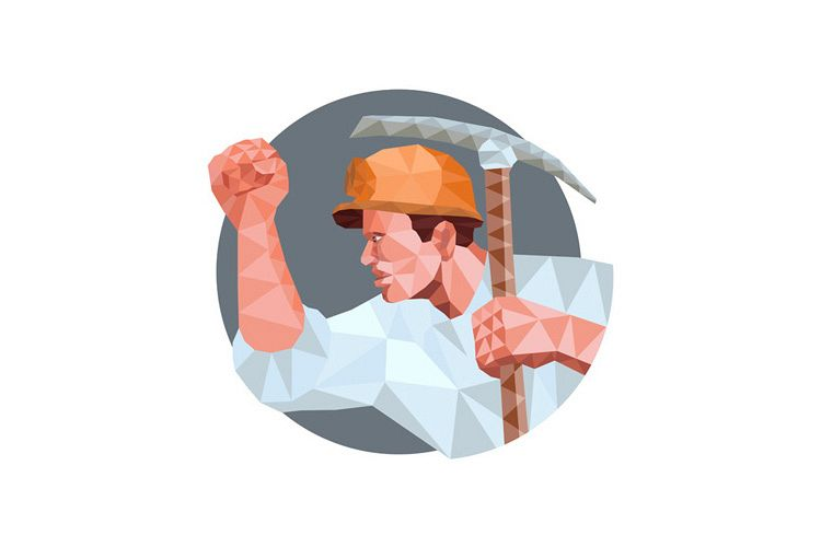 Coal Miner Pick Axe Pumping Fist Low Polygon example image 1