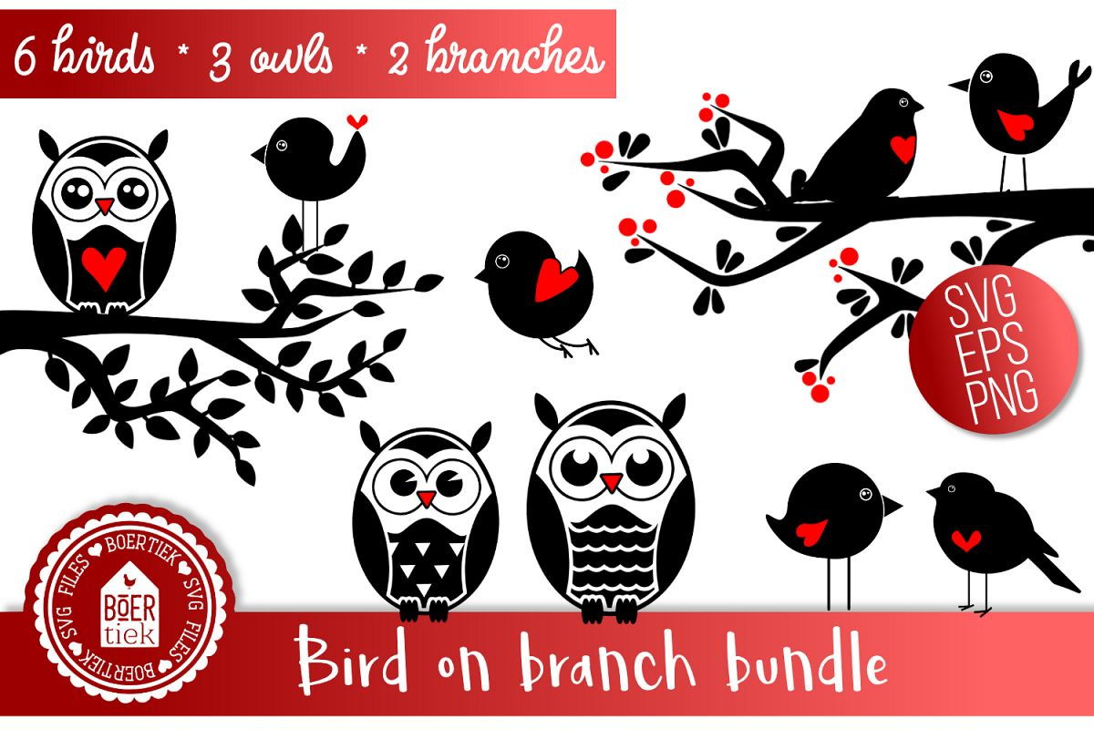 Bird on branch Bundle, SVG file example image 1