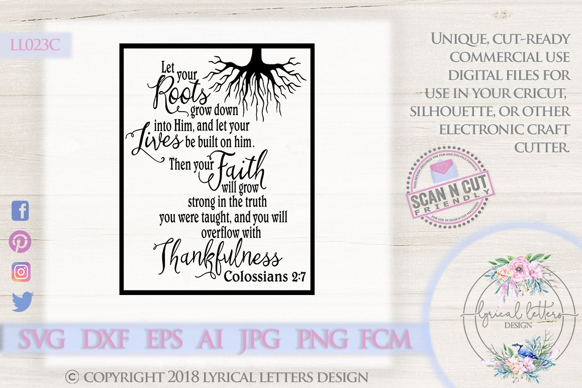 Let Your Roots Colossians 2 Scripture SVG DXF LL023C example image 1