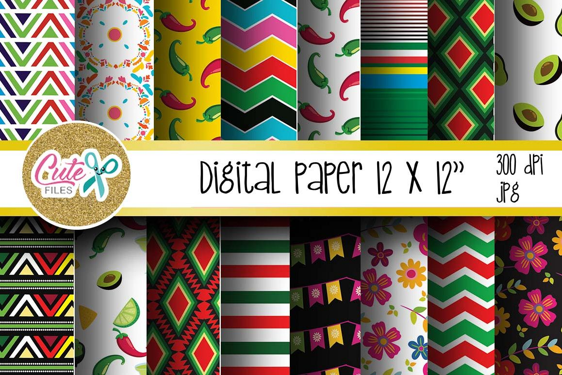 Mexican Digital Paper, colorful digital paper example image 1