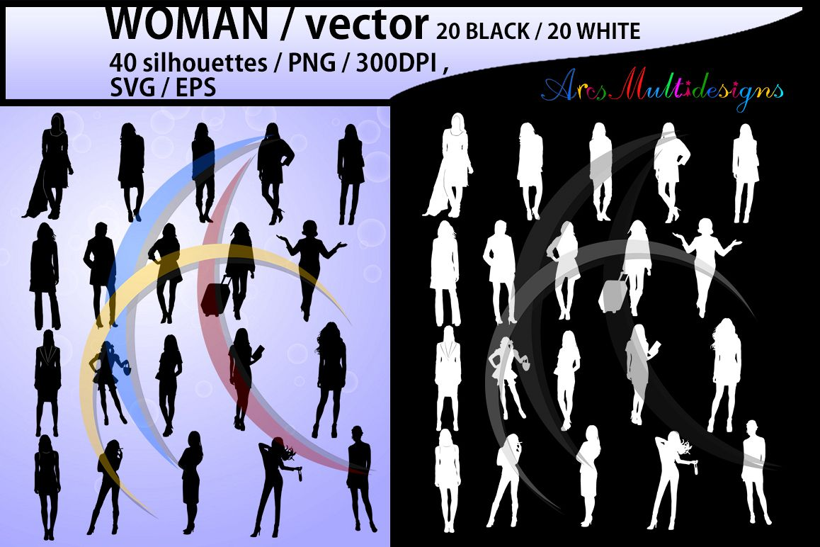 women silhouette / women svg / women clipart / printable women silhouette / standing women / 300dpi / PNG / EPS / SVG /black and white example image 1