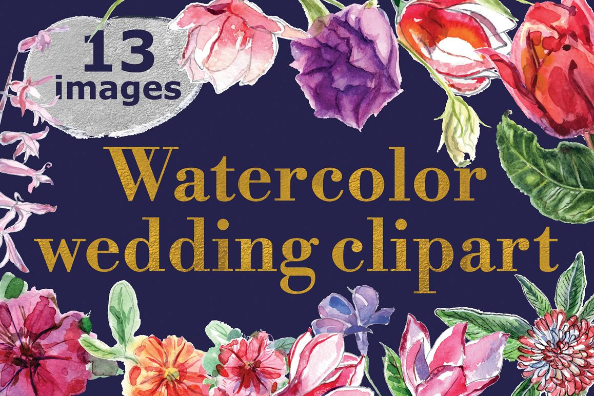Watercolor wedding clipart example image 1