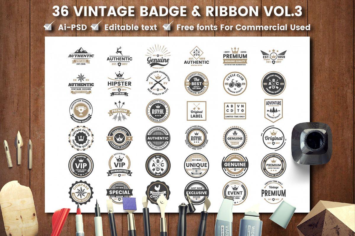 36 VINTAGE BADGE & RIBBON Vol.3 example image 1