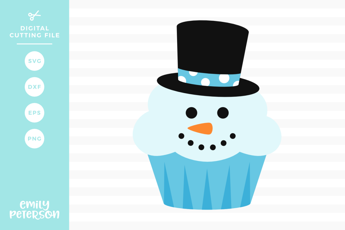 Snowman Cupcake SVG DXF EPS PNG example image 1