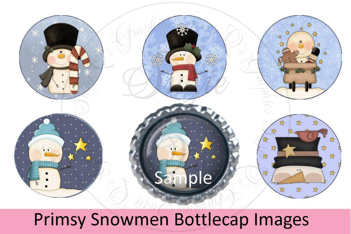 Primsy Snowmen Bottlecap Images, Labels example image 1