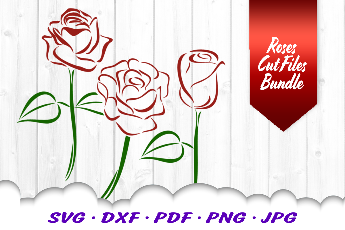 Tribal Rose Flowers SVG DXF Cut Files Bundle example image 1