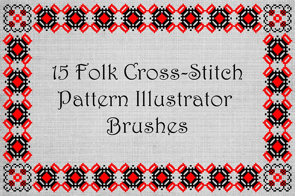 Ancient Folk Cross-Stitch Ornament-Adobe Illustrator Brushes example image 1