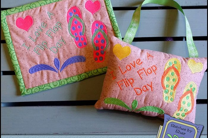 ccb691b0f8c Flip Flop Day Mug Rug or Doorknob Hanger Pattern - Machine Embroidery