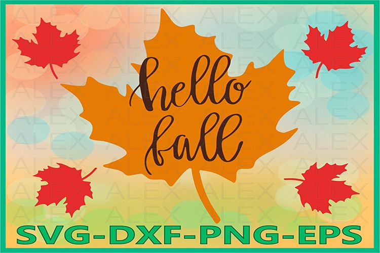 Hello Fall Svg, Autumn Svg, Fall svg, Fall Leaves example image 1
