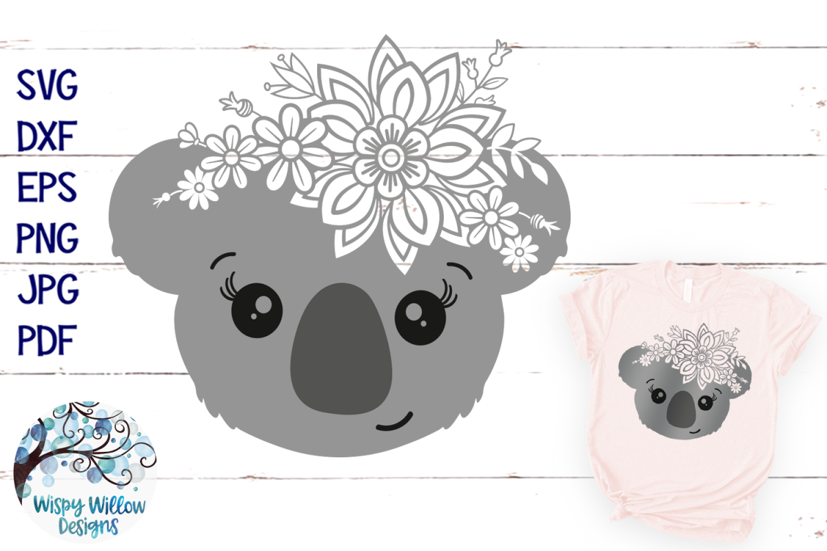 Floral Koala SVG | Girl Koala Face SVG Cut File example image 1