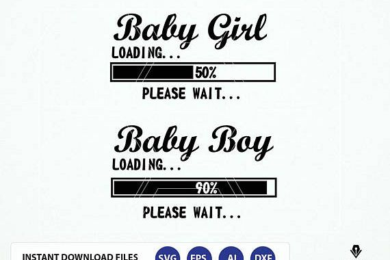 Baby Girl Loading SVG, Baby Boy Loading svg, expecting baby, Baby Announcement svg example image 1