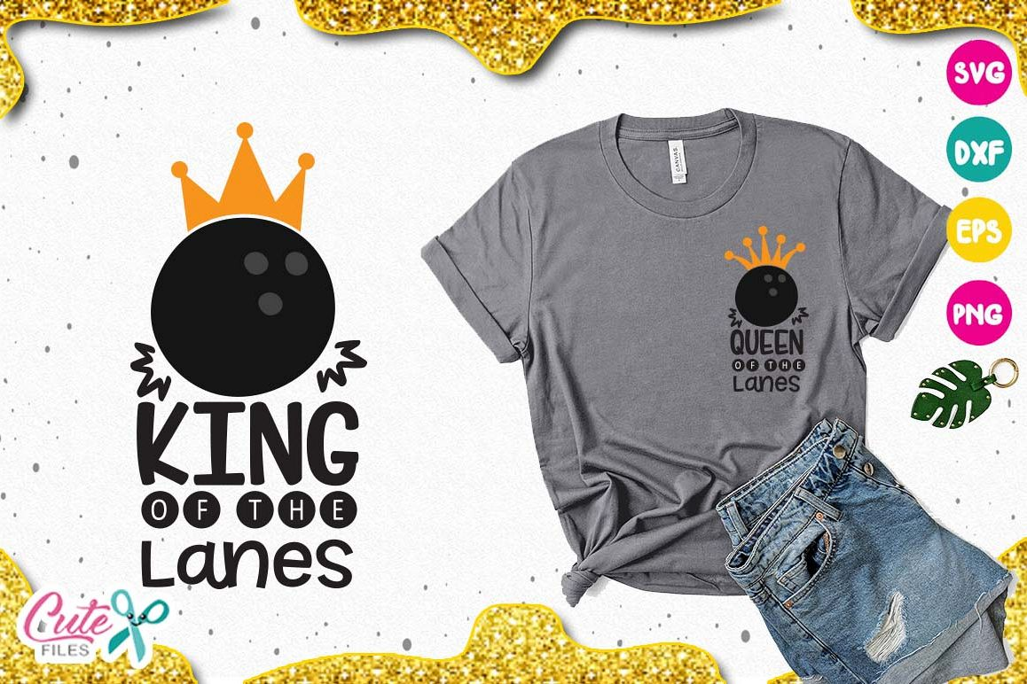 King of the lanes- Queen SVG, sport cut files for craftt example image 1