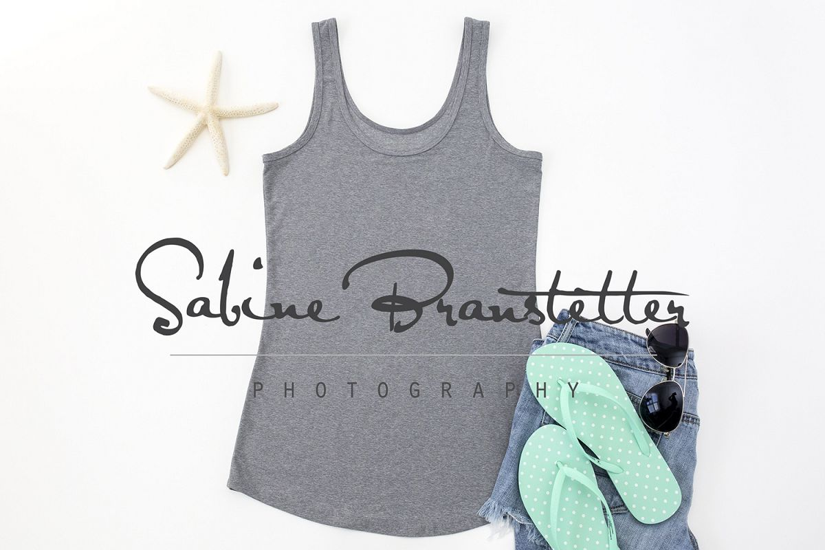 Styled Stock Photography Gray Women's Tank Top Mockup example image 1