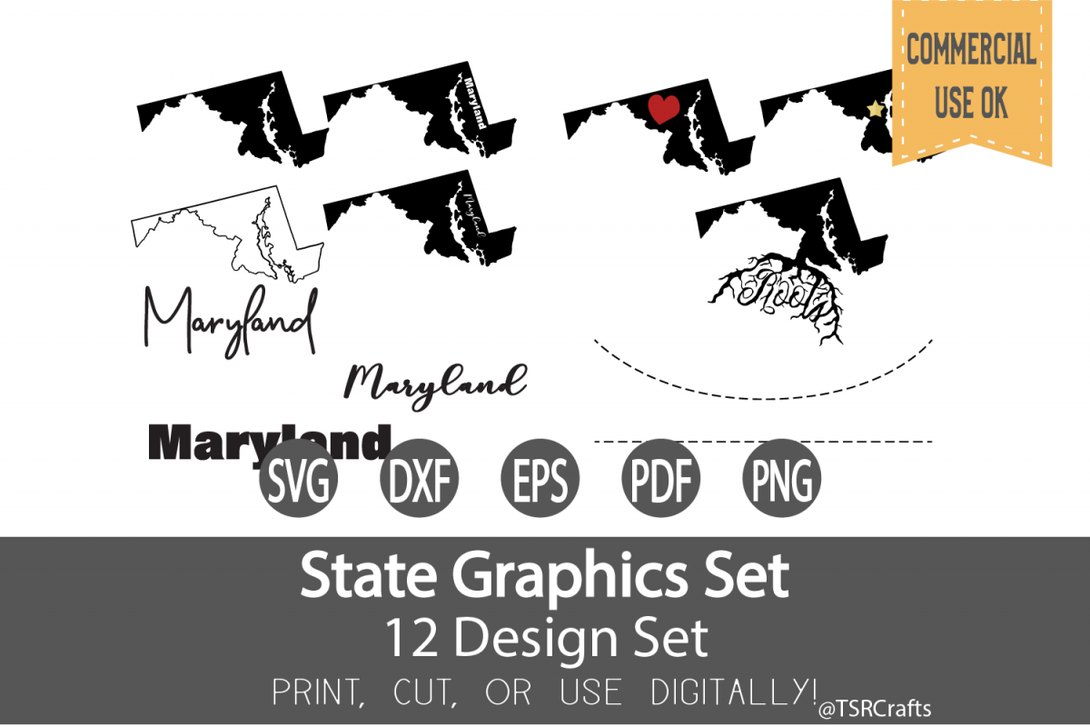 Maryland State Graphics Set - Clip Art and Digital Cut fil example image 1