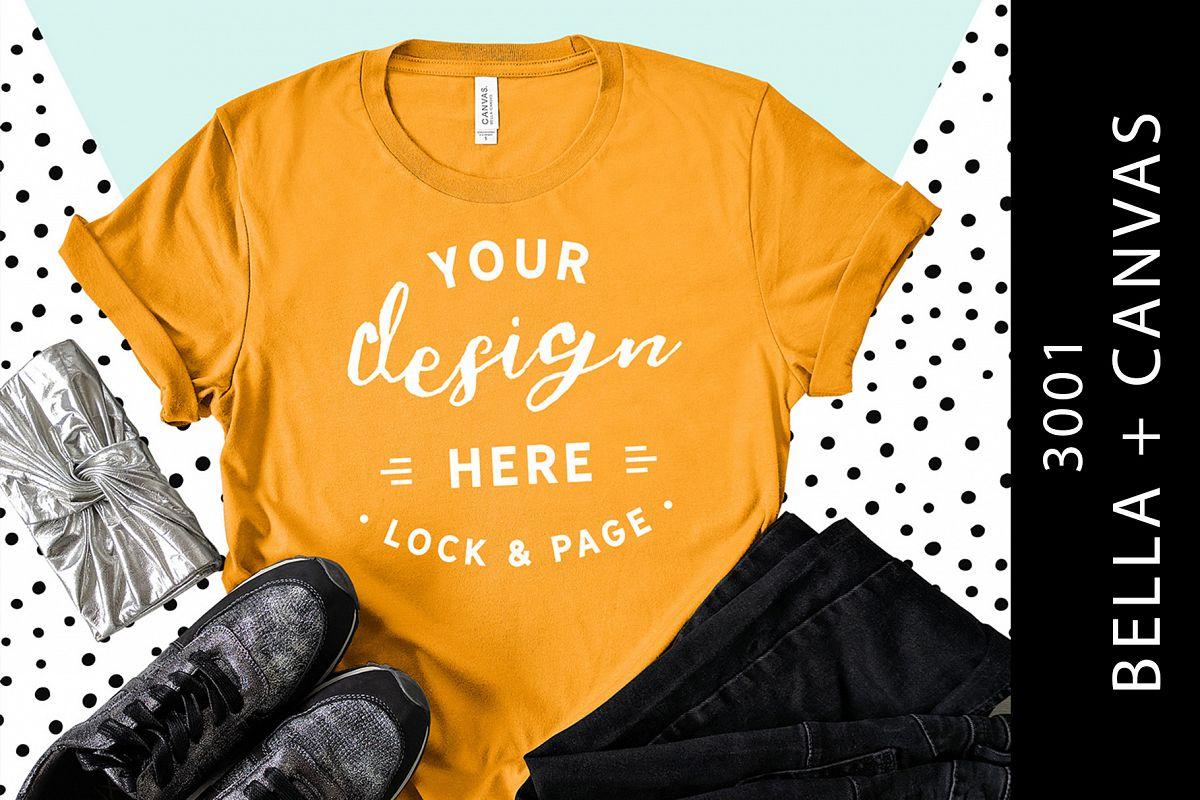 667414b3b98c3c Burnt Orange Bella Canvas 3001 T-Shirt Designer Mockup example image 1