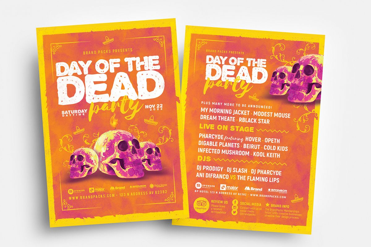 Day of The Dead Party Flyer Template example image 1