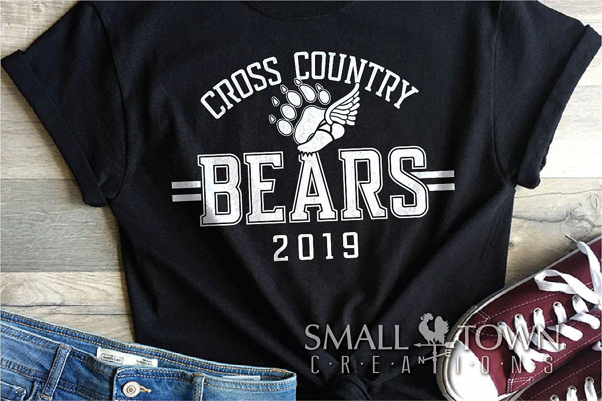 Bear Cross Country, Paw Print, Team, PRINT, CUT & DESIGN example image 1