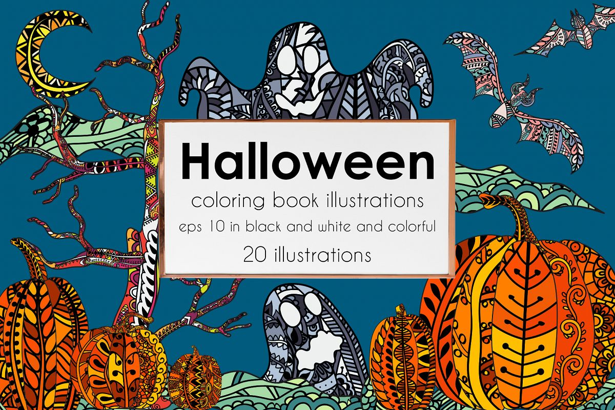 Halloween coloring illustrations example image 1