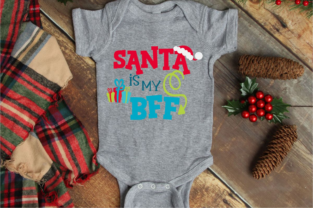 Christmas SVG, Santa Is My BFF Sublimation, Best Friends example image 1