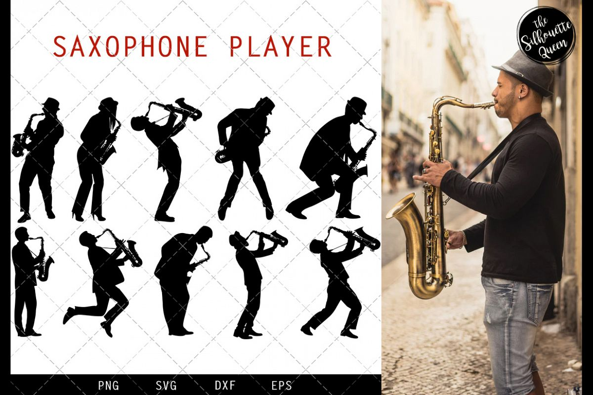 Saxophone Player svg file, jazz musician svg cut file example image 1