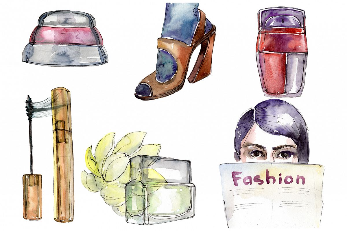 Fashion and style watercolor png example image 1