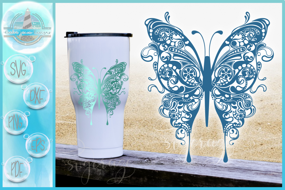 Beautiful Butterfly Mandala Zentangle SVG Dxf Eps Png Files example image 1