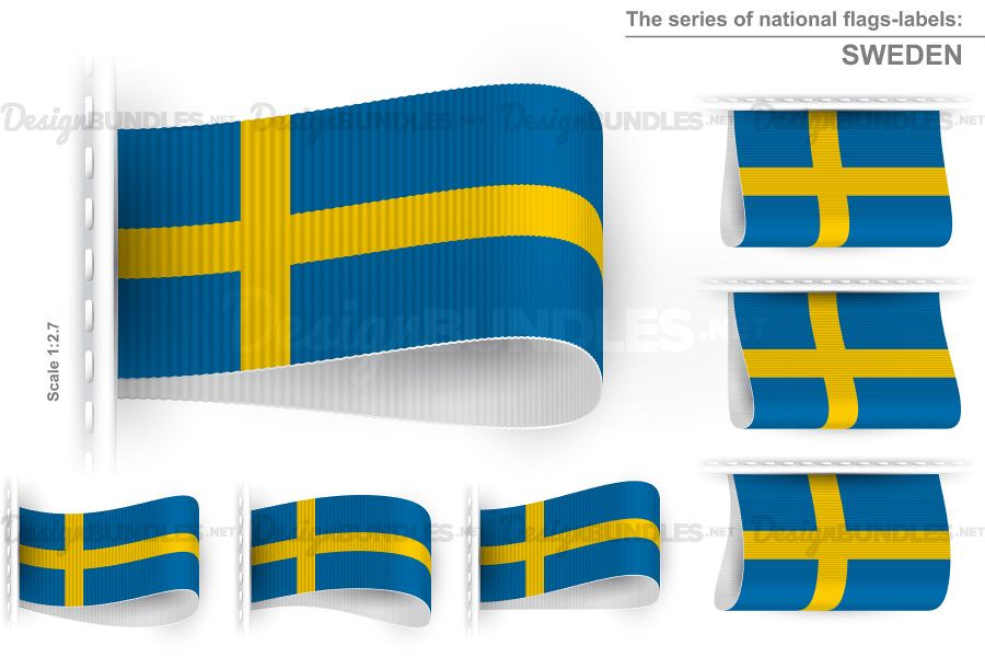 Vector Sweden Flag Tag Clothes Label Sticker Sewn Set example image 1