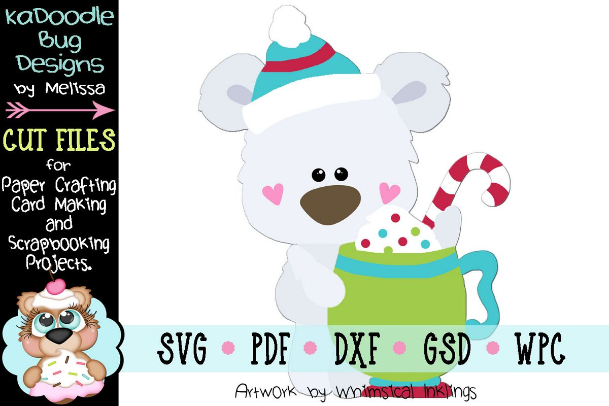 Warm Winter Cocoa Bear Cut File - SVG PDF DXF GSD WPC example image 1