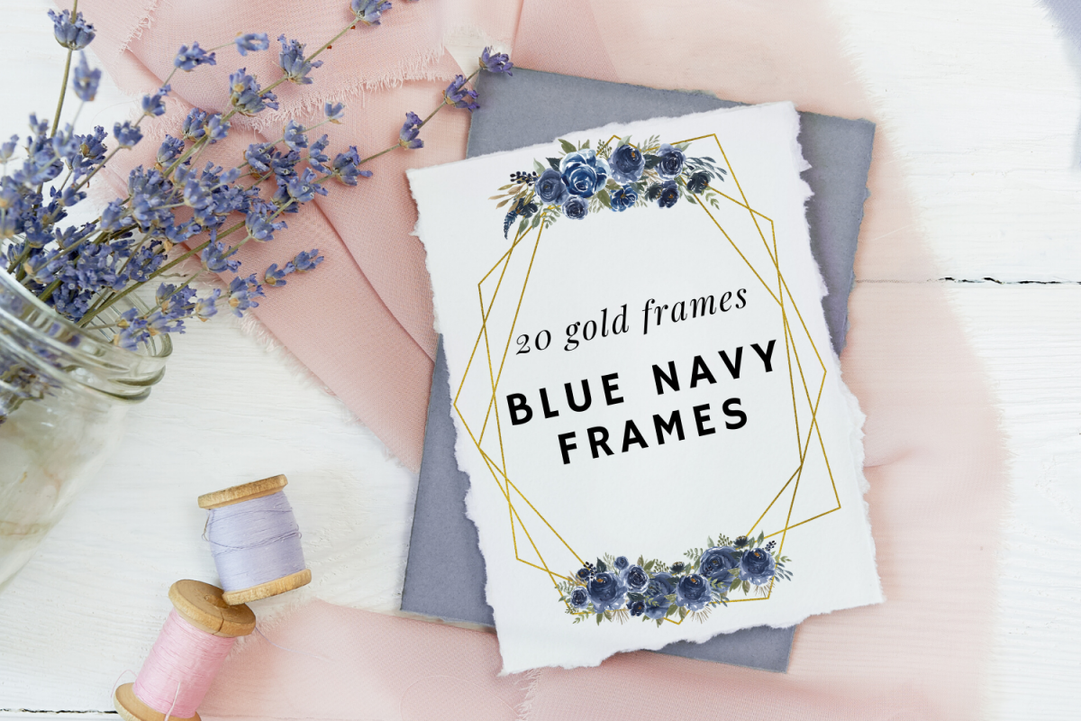 Navy Blue Watercolor Flowers Frames, Geometric Gold Frames, example image 1